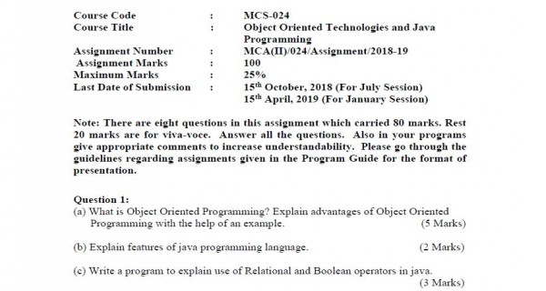 IGNOU MCA Object Oriented Technologies and Java Programming