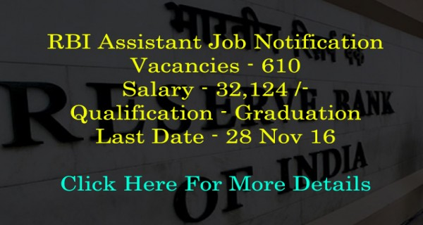 RBI Assistant job notification